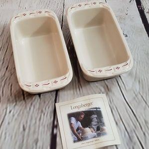 Set of 2 Longaberger mini loaf pans.